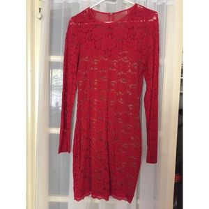 Express red lace body con mini dress